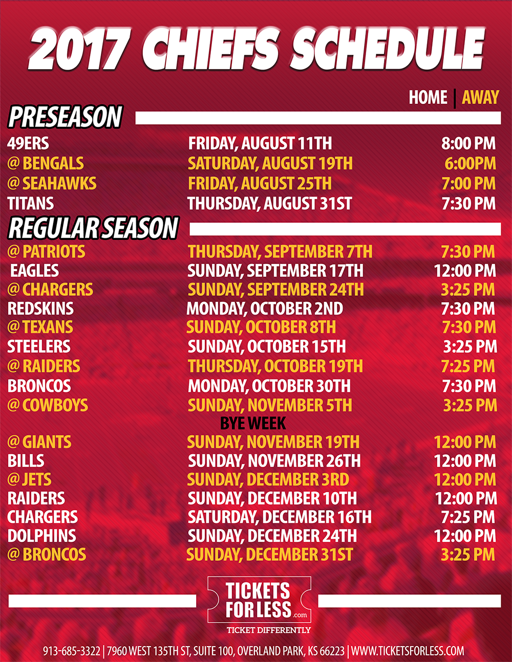 photograph relating to Kc Royals Printable Schedule known as 2017 Chiefs Printable Agenda - Kansas Metropolis Chiefs Routine