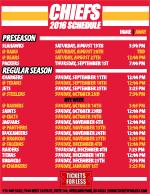 Printable 2016 Kansas City Chiefs Schedule