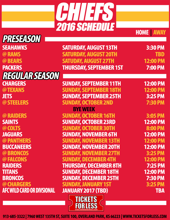 graphic relating to Kc Royals Schedule Printable known as 2016 Chiefs Printable Plan - Kansas Town Chiefs Timetable